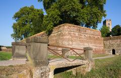 Medieval Wall Surrounding an Italian Village Stock Photos