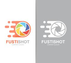 Vector fast camera shutter logo combination. Speed lens symbol or icon. Unique Stock Illustration
