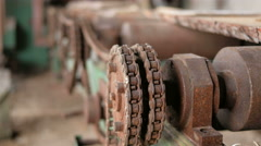 Vintage tape transport mechanism. Rusty gears and chains. Abandoned factory Stock Footage