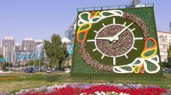 Flower Clock  Minute Almaty Kazakhstan Time Lapse 4K Stock Footage