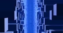 Stylized cubic 3d city , buildings, sky scrapers in light blue fog, mist Stock Footage