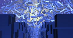 Ascension from cubic city into sky of floating blocks, 3d objects Stock Footage