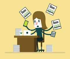 Busy businesswoman working with paperwork on her desk at office. Stock Illustration