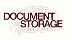 Document storage animated word cloud. Kinetic typohraphy. Stock Footage