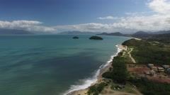 Aerial View of Mococa and Tabatinga Beach, Caraguatatuba, Sao Paulo, Brazil Stock Footage