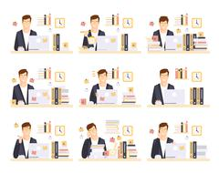 Male Office Worker In His Cubicle Working Set Of Illustrations Piirros