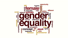 Gender equality animated word cloud Stock Footage