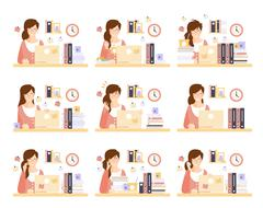 Female Office Worker In Her Cubicle Working Set Of Illustrations Stock Illustration