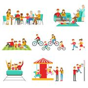 Happy Family Having Good Time Together Set Of Illustrations Piirros
