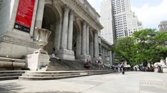 New York Public Library Entrance Stock Footage