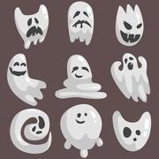 White Ghosts In Childish Cartoon Manner Set On Dark Background Stock Illustration