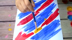 Creation of brush and paint the picture of abstract brush strokes on white boom Stock Footage