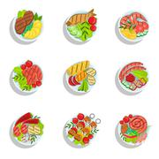 Oktoberfest Grill Set Of Food Plates Illustrations From Above Stock Illustration