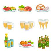 Oktoberfest Grill Set Of Food Plates And Beers Illustrations Stock Illustration
