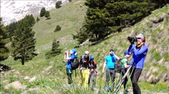 Group of climbers began their ascent to the mountain. Motivation. Stock Footage