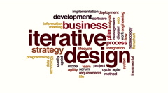 Iterative design animated word cloud Stock Footage