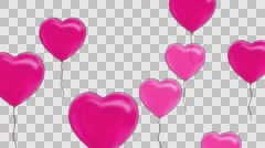 Pink balloons in the form of heart, Alpha Channel Stock Footage