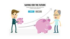 Businessman and growing piggybank with timeline. Stock Illustration