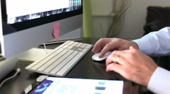 Close up of businessman hands typing on computer keyboard Stock Footage