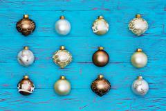 Neat array of metallic Christmas tree ornaments Stock Photos