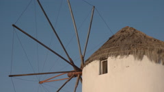 Zoom in close up of a windmill on mykonos, greece Stock Footage