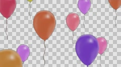 Balloonsof different colours fly to top, Alpha Channel Stock Footage