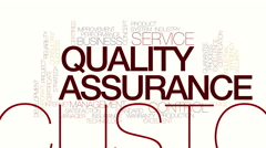 Quality assurance animated word cloud. Kinetic typohraphy. Stock Footage