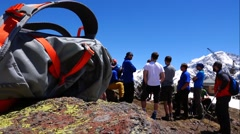 Climbers take counsel on how to proceed in the mountains. Success. Stock Footage