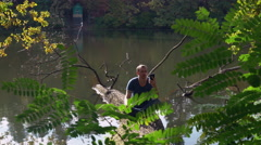 Male resting in park Stock Footage