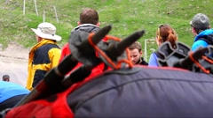 Climbers preparing to climb the mountain. Motivation. Stock Footage