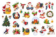 Classic Beautiful Christmas Stickers On White Background Stock Illustration