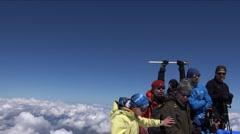 The top of Mount Elbrus climbers photographed. Success. Motivation. Stock Footage