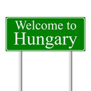 Welcome to Hungary road sign. Stock Illustration