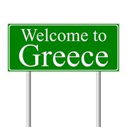 Welcome to Greece, concept road sign Piirros