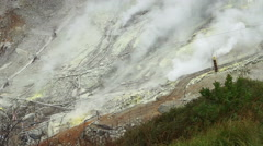 Hakone Owakudani active volcano valley. View from top seeing mine and steaming Stock Footage