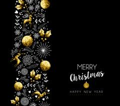 Christmas and New Year gold pattern decoration Stock Illustration