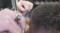 Close up haircut at barber shop with scissors Stock Footage