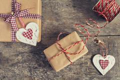Gift packaging kraft process to Valentine's Day Stock Photos