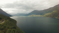 Aerial video over Hardanger fjord Stock Footage