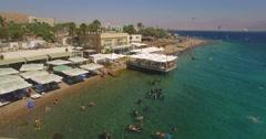 Resort restaurants on the beach- red sea, eilat, israel Stock Footage