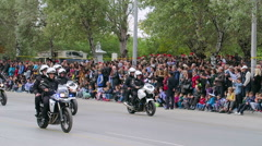 Greek Policemen in motorcycles parade. Stock Footage