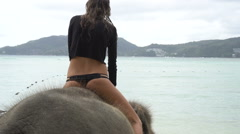 Young pretty blond  woman on elephant in the sea Stock Footage