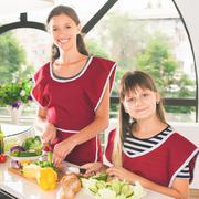 Happy family cooking Stock Photos