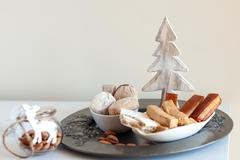 Turron, mantecados and polvorones, typical spanish christmas sweets Stock Photos