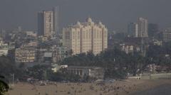 Large, impressive white building in Mumbai Stock Footage