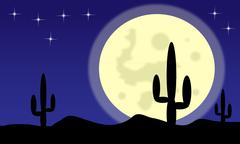 Desert with cactus plants and big moon Piirros