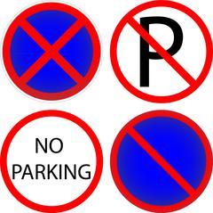 Variants a No parking - road sign Stock Illustration