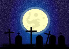 Cemetery at night Stock Illustration