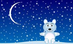 Winter Landscape with a polar bear Stock Illustration