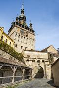 Watch tower in Sighisoara town, Romania Stock Photos
